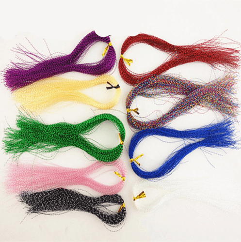 10 bags 33cm Fly Tying Material Crystal Flash Holographic Fishing Lure Bait Flies Artificial Lures Tying Making All Position
