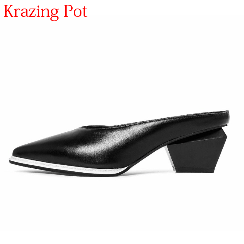 2018 Superstar Brand Spring Shoes Slingback High Heels Streetwear Mules Elegant Genuine Leather Elegant Slip on Women Pumps L86 elegant women s pumps with suede and slingback design