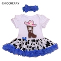 Fancy Design Hat Applique Infant Lace Romper Dress Blue Newborn Tutu Sets Headband Party Dress Roupas De Bebe Infant-clothing