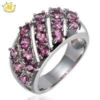 Hutang Naturalny Różowy Turmalin Kamień Pierścień Klastra Oryginalna 925 Sterling Silver Kobiety Dzieła Kamień Biżuteria Na Prezent Nowy