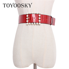 TOYOOSKY New Arrival Women Belt PU Crocodile pattern Pin Buckle Wide Waistband Belts for Dress High Quality Female 2019