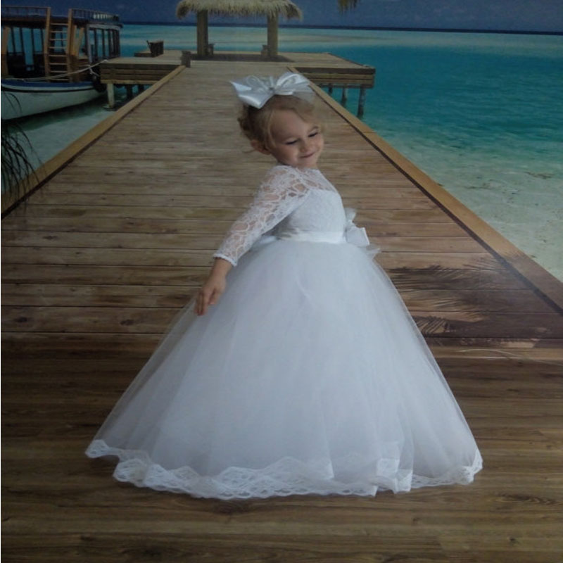 A-line Flower Girls Dress With Sashes For Wedding Gowns White Junior Bridesmaid Dress Ankle-Length Mother Daughter Dresses недорго, оригинальная цена