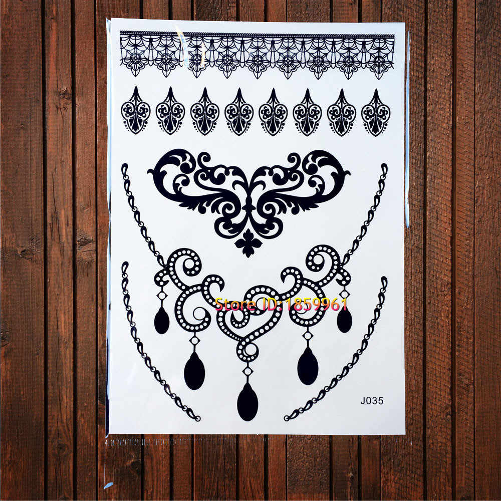 b58ccd096 ... 1 Sheet Popular Disposable Tattoo Henna Sexy Women Lace Stencil Pattern  ABJ024 Butterfly Design Mehndi Temporary