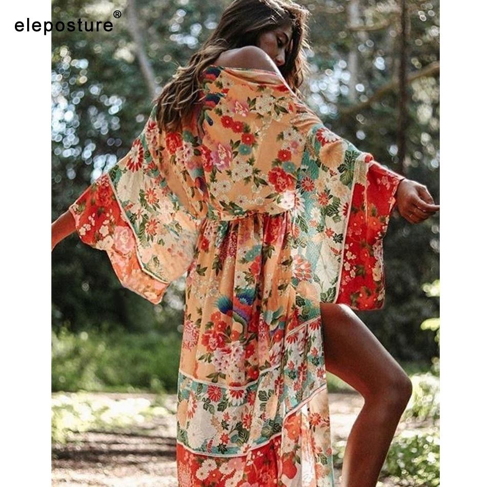 2020 New Sexy Beach Cover Up Women Bikini Cover Up Floral Print Beach Dress Plus Size Tunics Bathing Suits Cover-Ups Beachwear