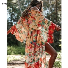 Vestido de capa para praia sensual feminino, cobertura para biquíni e maiô com estampa floral, tamanhos grandes, 2020 ups roupa de praia