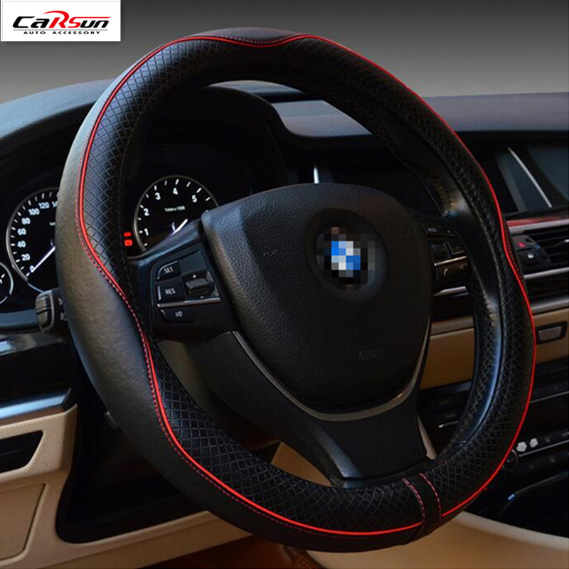 2017 CARSUN General 38CM Leather Many Colors Steering Wheel Cover Car Sets For BMW/Audi/Benz/Volkswagen/Toyota