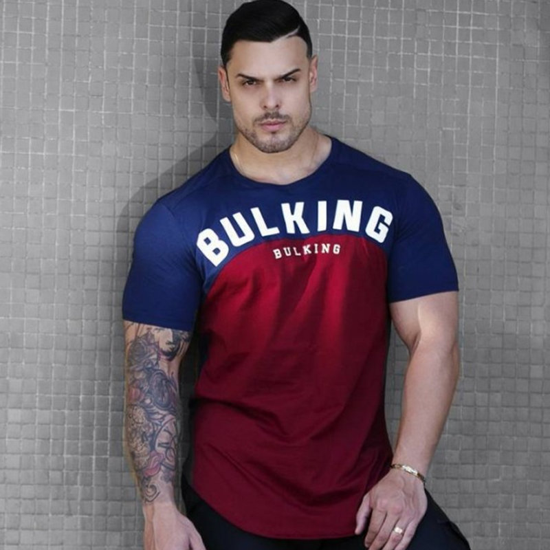 Mens Cotton Patchwork T-shirt New Gyms Fitness Bodybuilding Workout T Shirt Male Summer Casual Fashion Tees Tops Brand Clothing