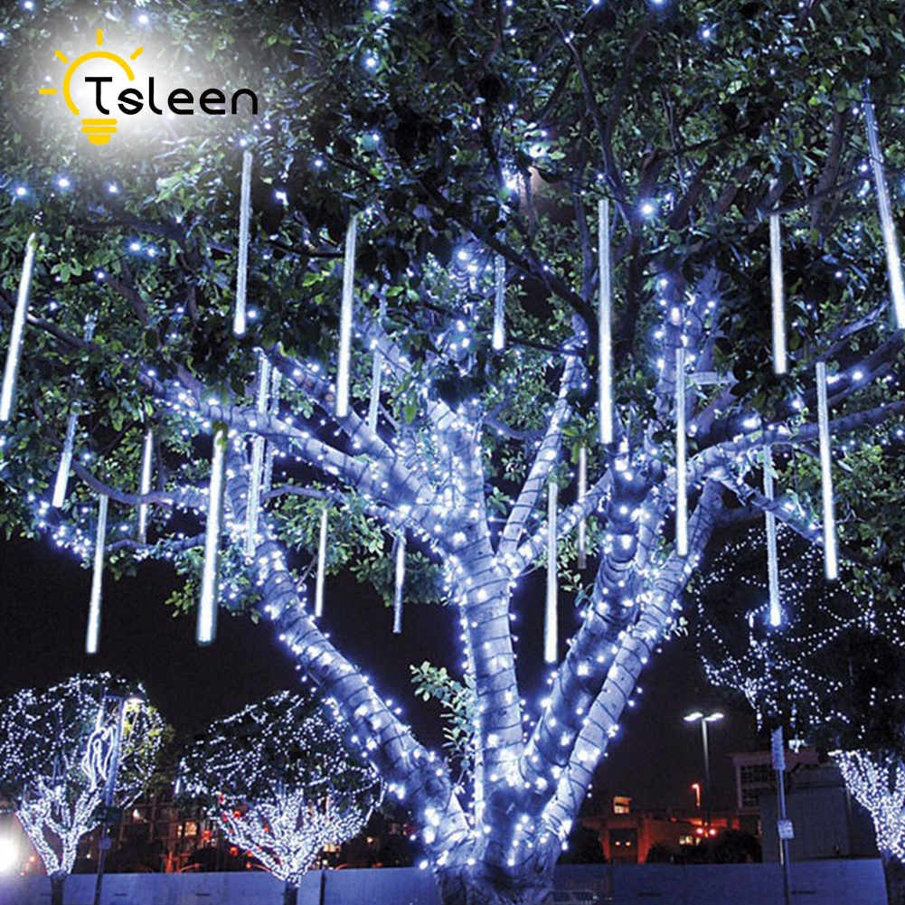 TSLEEN Multi-color 30CM 50CM Meteor Shower Rain Tubes AC 85-265V Christmas String Light Garden Wedding Party Holiday Tree Decor