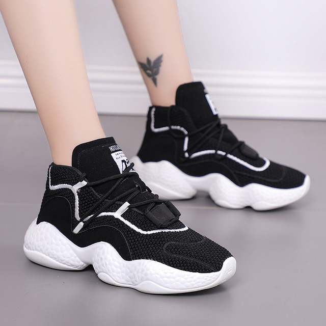 2018 Весенние новые черные кроссовки на платформе женская повседневная обувь tenis feminino кроссовки сетчатые носки кроссовки женские Basket Femme