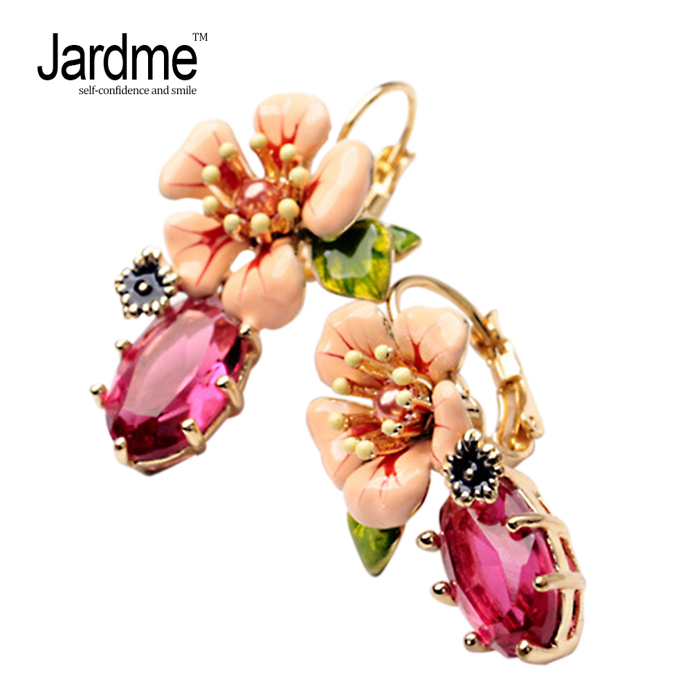 Jardme 2018 Exquisite Enamel Camellia Stud Earrings for Women Cute Showy Bijou Wedding Party Gift Apparel Accessories Jewelry