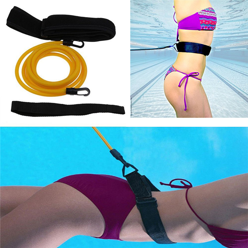 Adjustable Swim Training Resistance Belt Adult Kids Swimming Bungee Exerciser Leash Mesh Pocket Safety Swimming Pool Accessories