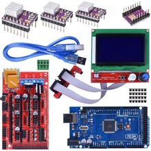 Mega 2560 R3 REV3 Board + RAMPS 1.4 Controller + 12864 LCD Display + 5pcs DRV8825 Stepper Motor Drive For Arduino 3D Printer Kit hot sale 3d printer kit 12864 lcd ramps smart parts ramps 1 4 controller control panel lcd 12864 display monitor motherboard blu