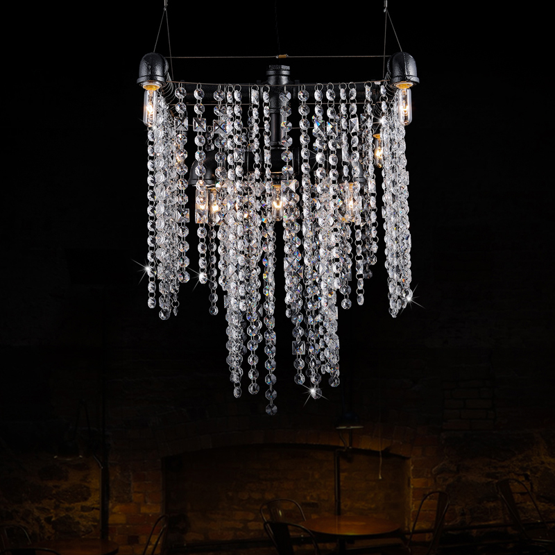 Creative Iron River Crystal pendant lights Hotel Villa Lobby lamp Retro Loft Living Room ...