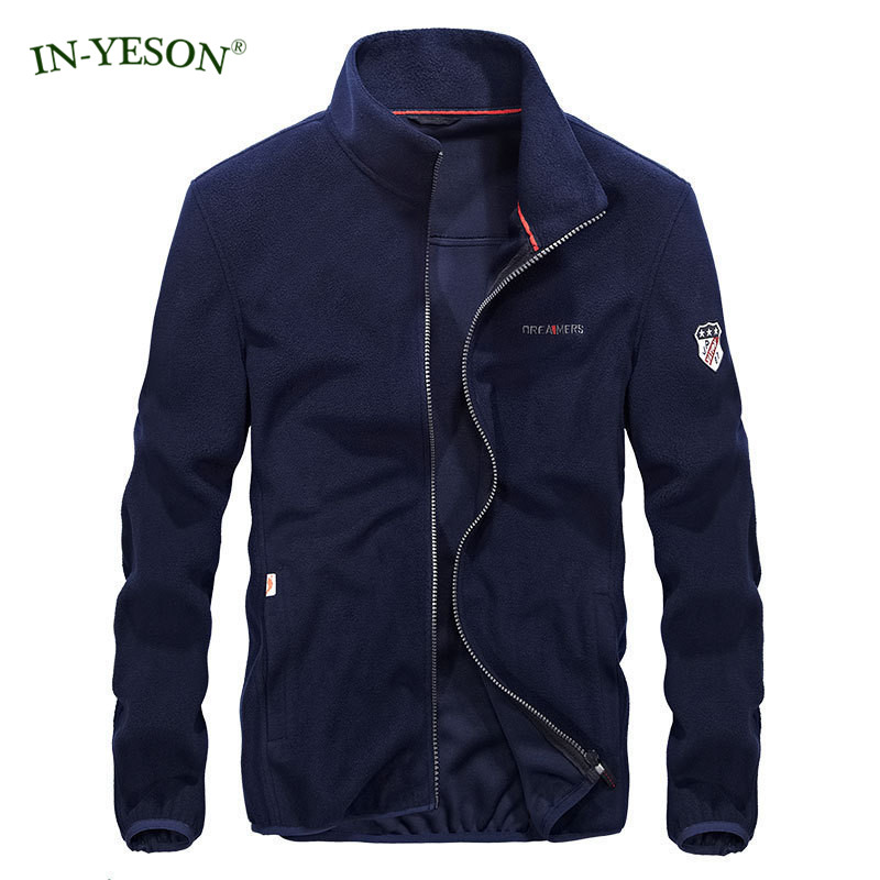 Brand Clothing IN-YESON Spring Autumn Fleece Jacket Men Jaqueta Masculina Solid Color Zipper Stand Collar Casual Men Jacket