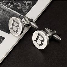Лептон Буквы b запонки «Алфавит» для мужчин античные Посеребренные