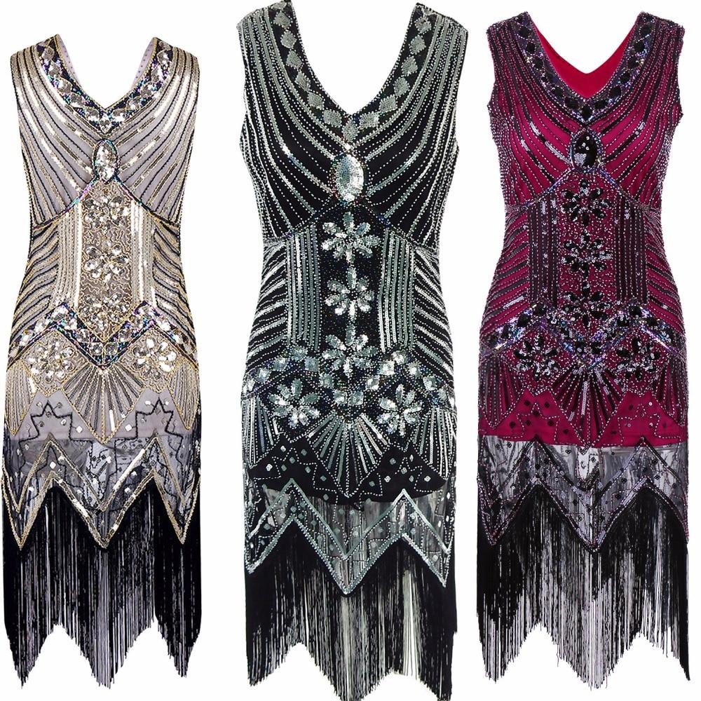 Gatsby Gaun Wanita Berpayet Gaun besar V Leher Manik-manik Berpayet - Pakaian Wanita - Foto 2