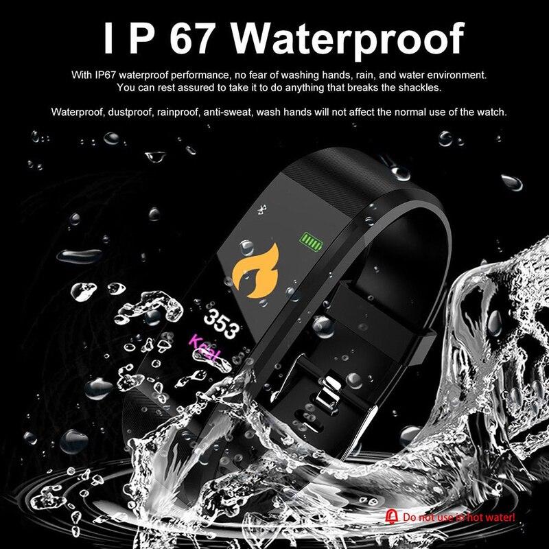 ID115 PLUS smart Bluetooth fitness podómetro contador de paso muñeca dormir Monitorización del ritmo cardíaco reloj con calorías corriendo rastreador