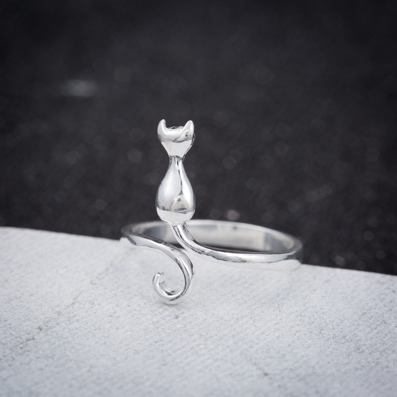 Oly2u New Plated kitty Cat Rings For Women And Mens
