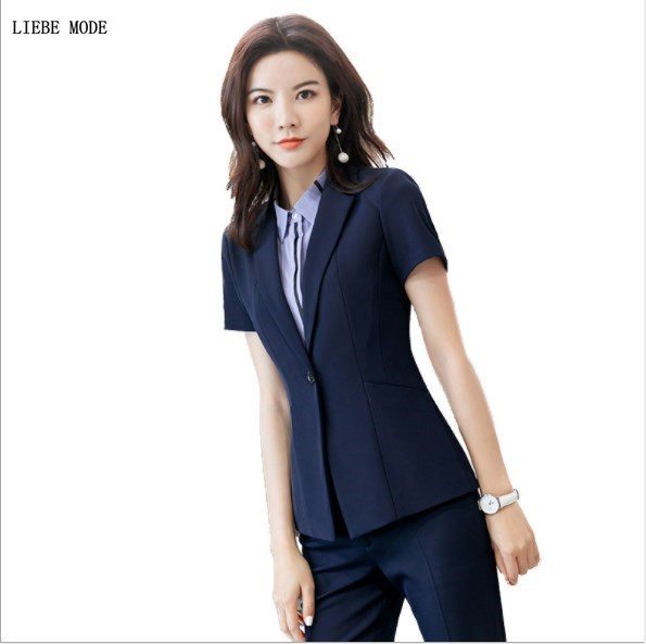 Two Piece Career Mini Skirt Suits Black Blue Fashion Short Sleeve Blazer and Skirt Female Work Wear Skirts Suit Plus Size Outfit
