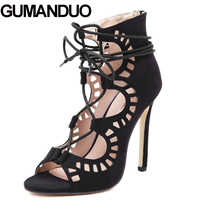 Summer Roman Style Gladiator Carved Cut Out Open Toe Sandals Runway Party Wedding Women Faux Suede