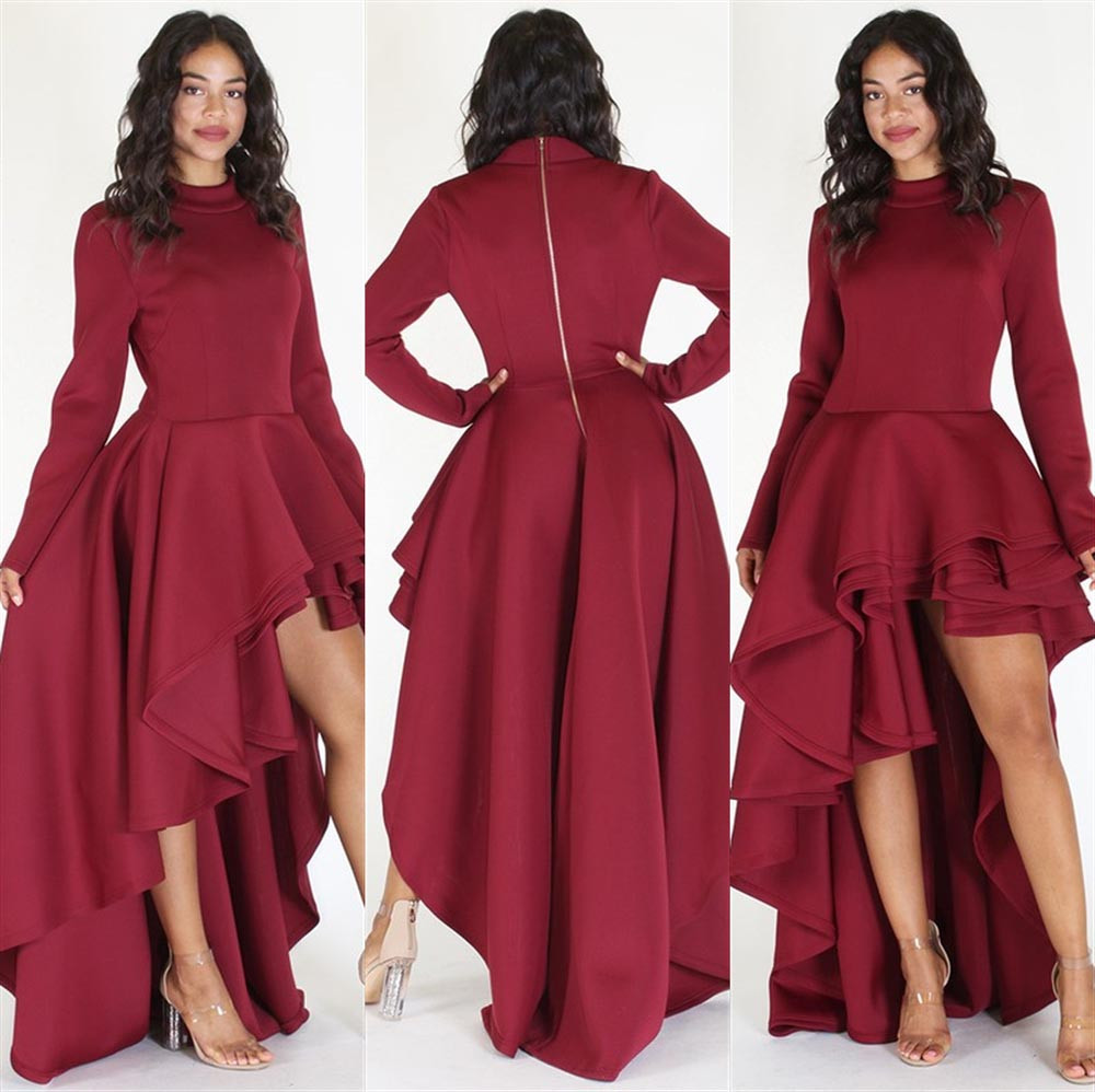 c7ca7359a3f WOMAIL Women Long Sleeve High Low Peplum Bodycon Casual Party Club Dress  Big Size Casual Fashion