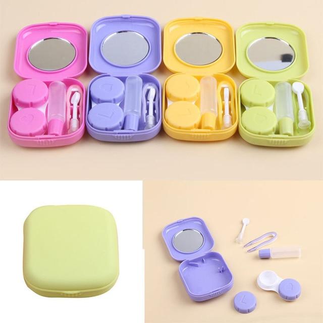 Przenośny Śliczne Kieszonkowy Mini Contact Lens Case Travel Kit Lustro Pojemnik 5 Kolory