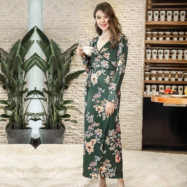 87ff464df47 NG0266 Women Long Nightgown Floral Flower Print Sleepwear Sexy V Neck Bath  Robe Gown Female Full Sleeve Bathrobe Satin Silk Robe
