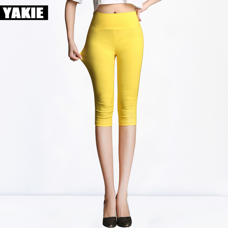 2017 summer Stretch skinny Female Candy Colored Pencil   Pants     capris   Women's Elastic Cotton   Pants   OL female Trousers plus size