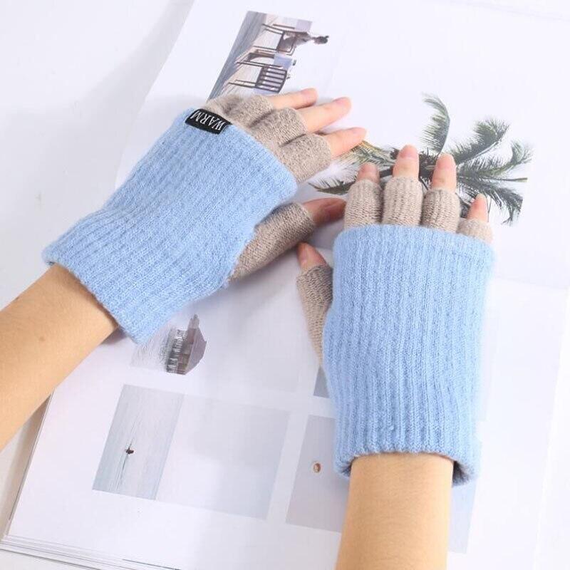 Women's Knitted Warm Fingerless Gloves Thickened Men's Winter Half Finger Gloves Accessories Unisex Double Layer Mittens