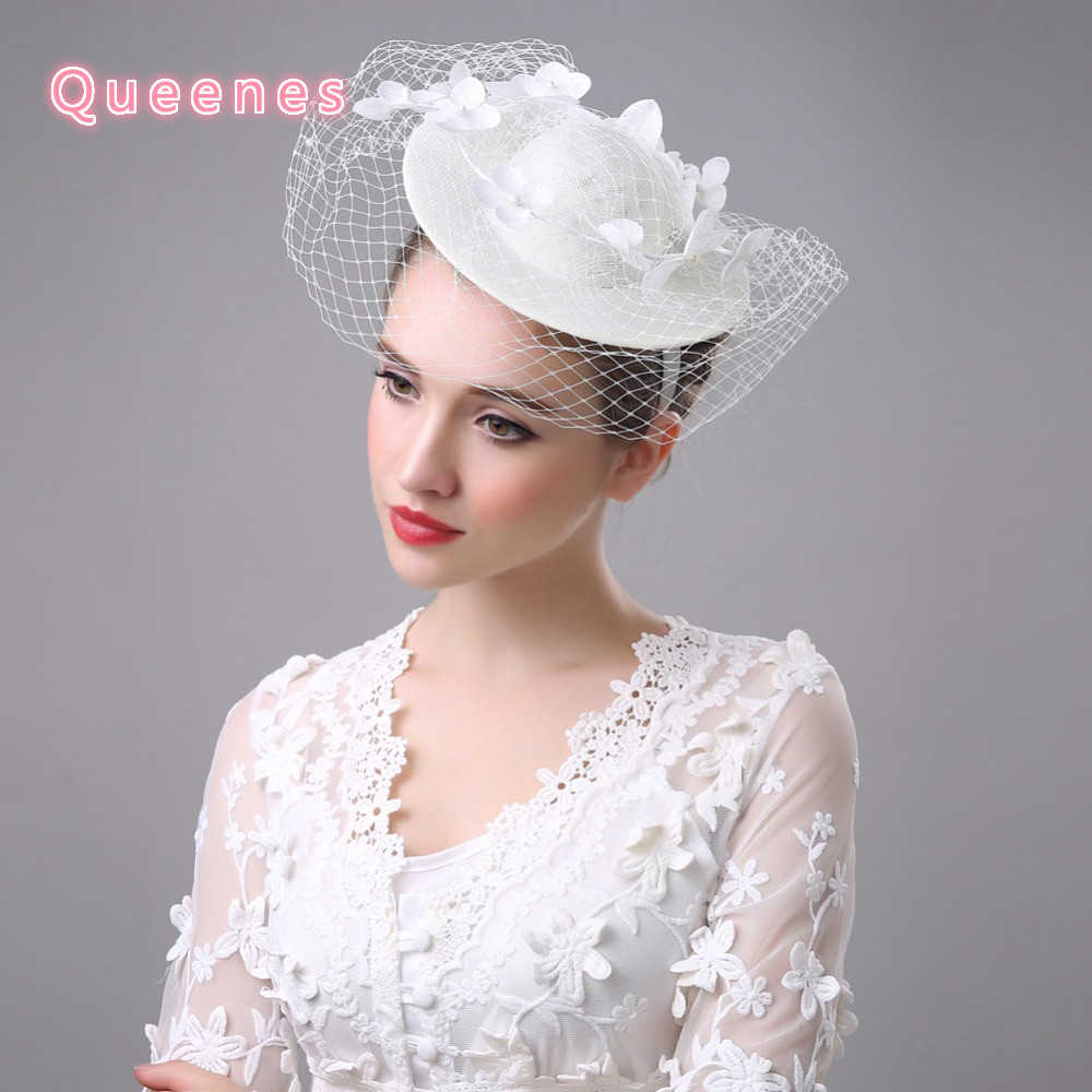 c273140aafac2 Fashion Beige WHite Lace Flower Bridal Fascinator Hats Hairband Party  Cocktail Wedding Floral Women Fancy Veil Headpiece Hat-in Women s Hair  Accessories ...