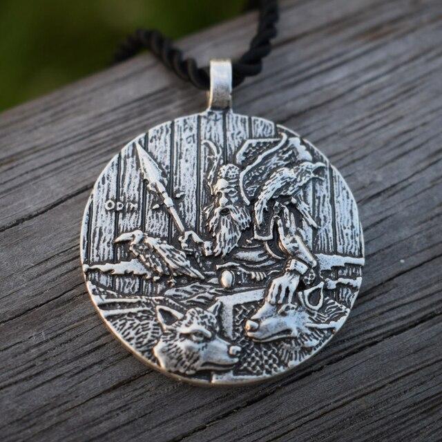 God Odin With Ravens And Wolf Pendant Necklaces Norse Odin Viking Jewelry Slavic Pendant Sanlan Original Jewelry 1
