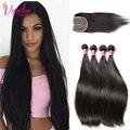 Malaysian Virgin Hair 4 Bundles Straight Human Hair Weave With Closure Natural Brown Malaysian Straight Hair With Lace Closure