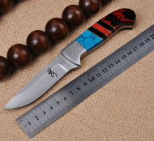 NEW Hunting Knife Fixed 7CR17MOV Blade Knife Browning Color Handle Survival Tactical Knifes Camping Knives Outdoor Tools kn239