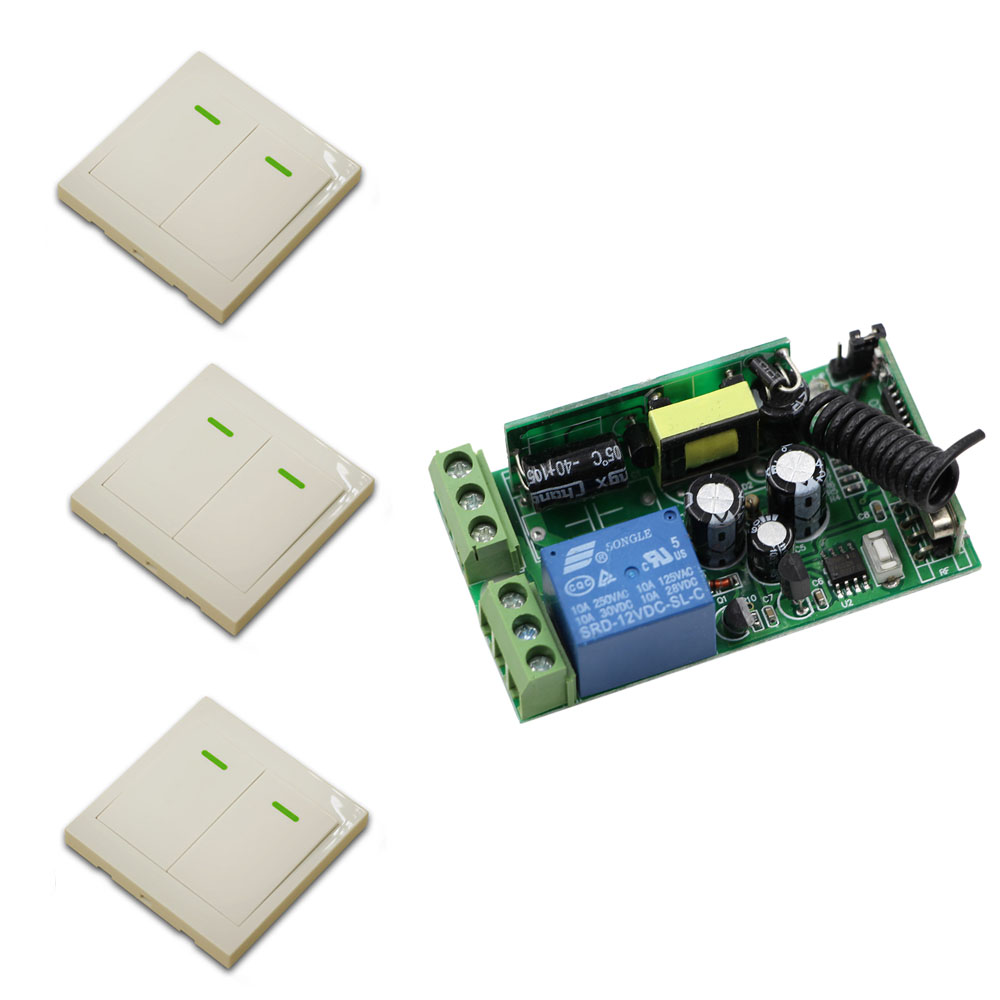 AC 85V-250V Wireless Remote Switch System Radio Switch Relay Receiver + 86 Wall Panel Transmitter learning code Smart Home