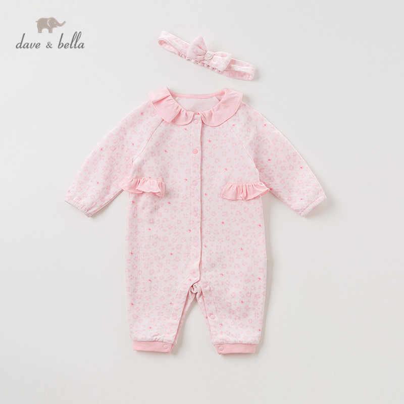 DBH11386 Dave bella ฤดูใบไม้ร่วงใหม่เกิดเด็กทารกแฟชั่น jumpsuits พิมพ์ทารกเด็กวัยหัดเดินเสื้อผ้าเด็ก romper 1 ชิ้นเข็มขัด