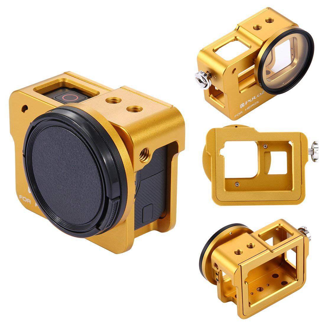 PULUZ per GoPro Nuovo Hero (2018) goPro Hero 6/5 CNC In Lega di Alluminio Custodia Custodia Protettiva Gabbia con Assicurazione Borsette Frame & 52 m