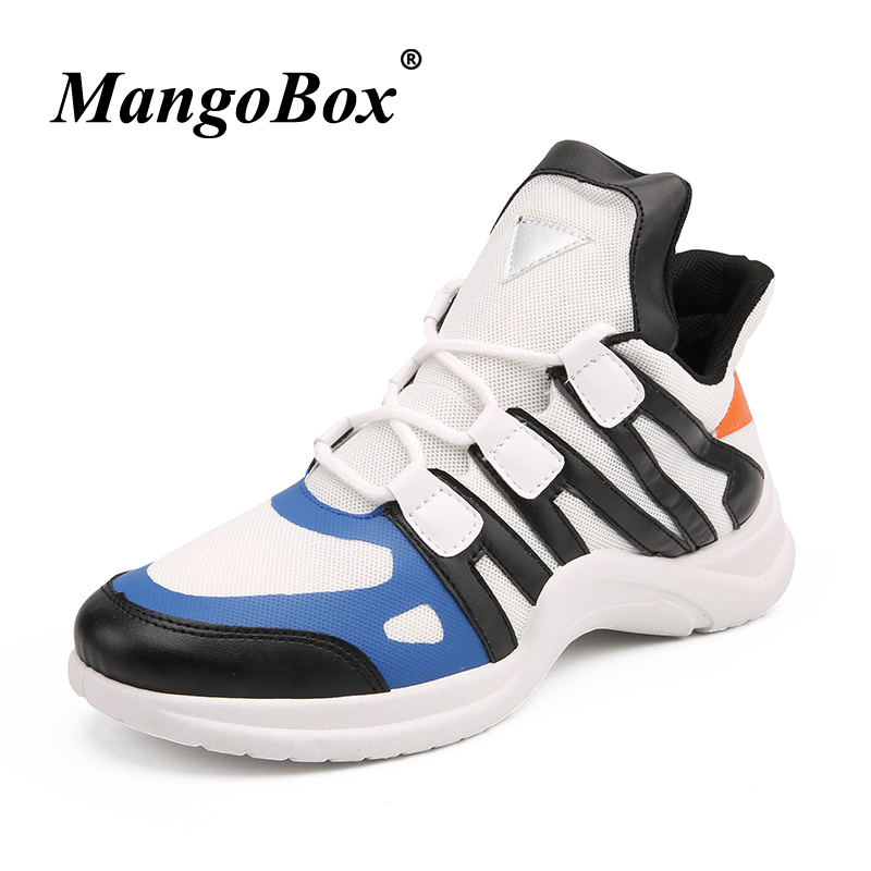 Man Sneakers for Sport Black White Man Running Shoes Mid-top Athletic Footwear Male Anti-slip Lace Up Walking Shoes for Male