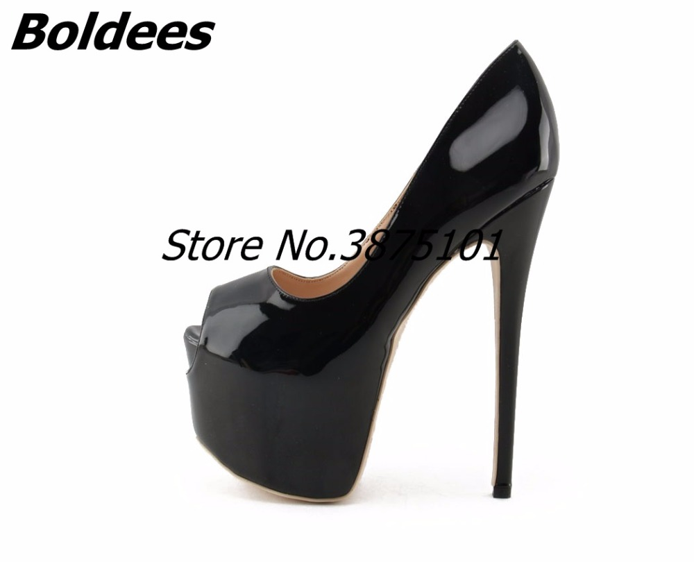 Boldees Nude Patent Leather Women High Heels Pumps 16CM Peep-toe Super Stiletto Heel Slip-On Platform Shoes Big Real Shot Photos big size high spike heel platform women pumps peep open toe leopard patent leather party wedding slip on sexy lady thin stiletto