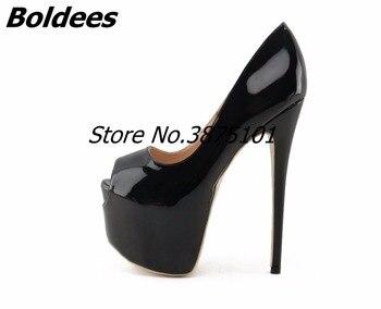 779149e3 Boldees Nude charol mujeres tacones altos bombas 16 CM Peep-toe Super  Stiletto tacón plataforma de deslizamiento zapatos grandes fotos reales