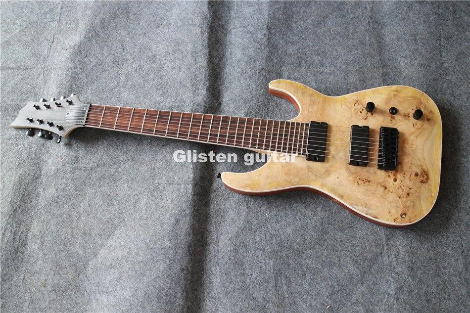 Guitare électrique 8 cordes de qualité supérieure, haut Koa, livraison gratuite