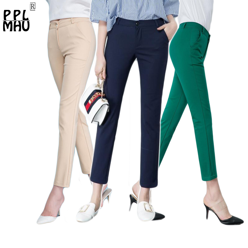 Women's Casual Candy Pencil Pants 2019 New arrival 95% Cotton Elastic Slim Skinny Pants Femal Women's Stretch Pencil Trousers-in Pants & Capris from Women's Clothing