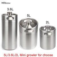 304 Paslanmaz Çelik 5L/3.6L/2L Mini Fıçı Bira Growler Taşınabilir Bira Şişesi Ev Bira Yapma Bar Aksesuarları aracı