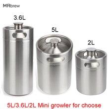 304 Stainless Steel 5L/3.6L/2L Mini Keg Beer Growler Portable Beer Bottle Home Beer Making Bar Accessories Tool