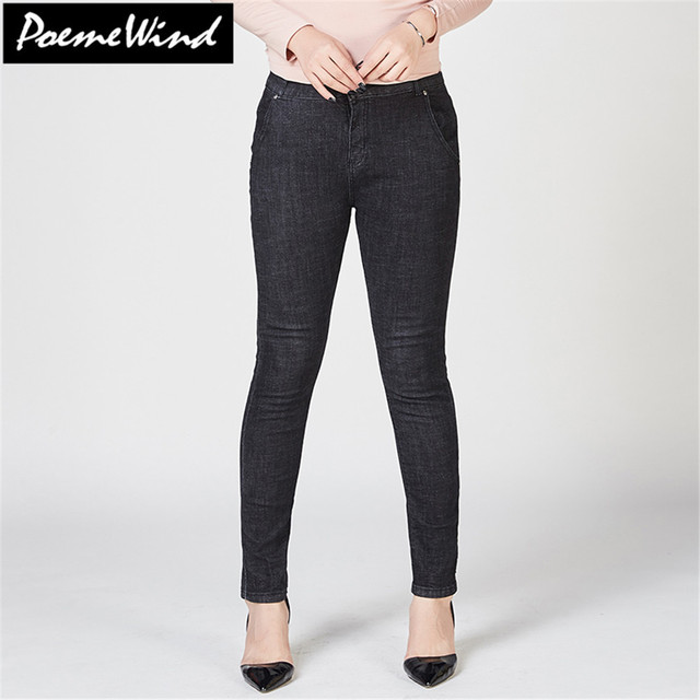 PoemeWind Plus Size Women Denim Jeans Blue Causal Slim Stretch Mid Waist Long Classic Jeans Trousers Women Mujer 38 40 6XL 7XL