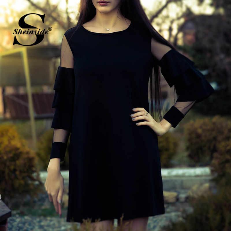 Sheinside рюшами с длинным рукавом черный трапециевидной формы работы платья для женщин дамы контраст сетки Многоуровневое Слои прямые для ж