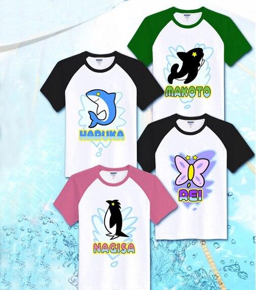 Бесплатная! -Бесплатно клуб Харука/Татибана Макото/Ryugazaki Рей/Hazuki Нагиса Косплэй костюм летняя футболка унисекс Футболки для девочек