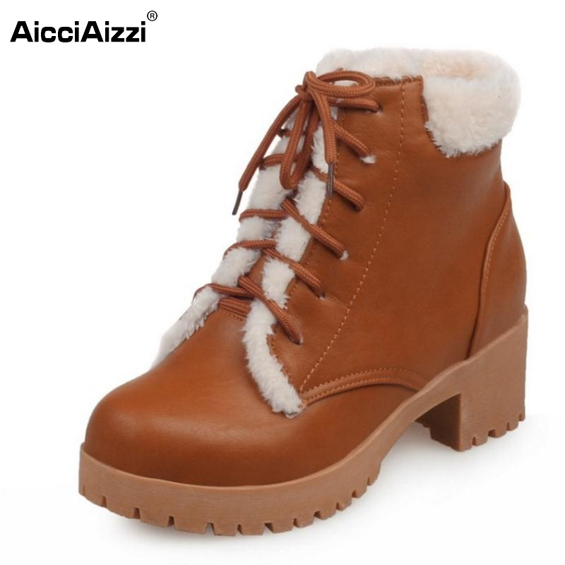 New Autumn Winter Women Ankle Boots Woman Martin Waterproof Outdoor Snow Botas Lace Up Warm Fur Shoes Footwear Size 34-43 new arrivals bandage shoes woman winter women boots fur plush lace up snow boots ankle boots