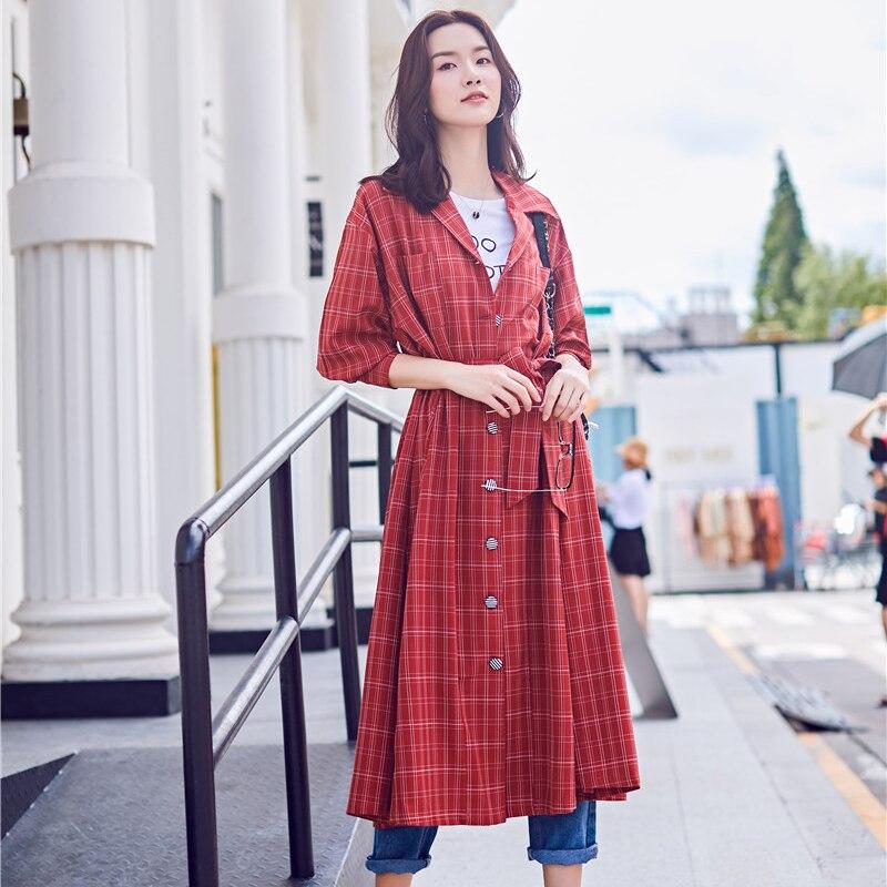 Long Élégant Vitange Dame Outwears Ceintures Manteaux féminines Rouge Coupe vent Taille Nouveau Tranchée Poitrine Large Style Unique Plaid Femmes pa7q6BH