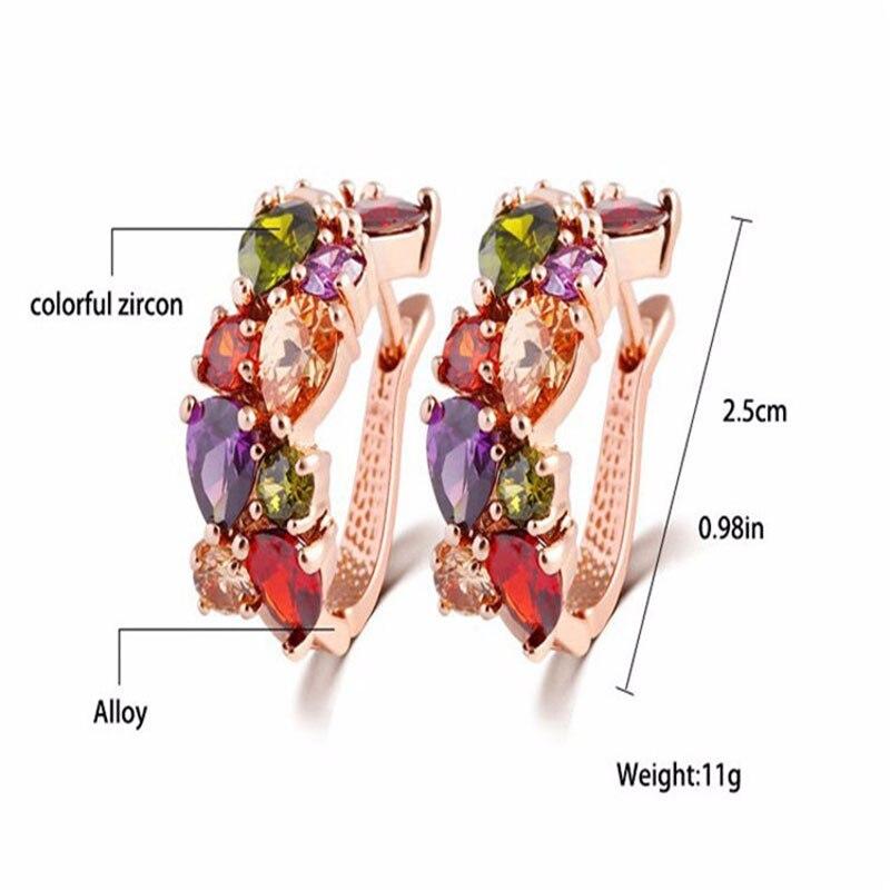 Manxiuni New Top Rose Guldfärg Blommor Smycken Set Multicolor Cubic - Märkessmycken - Foto 3