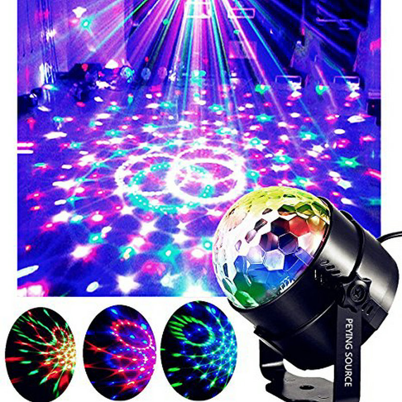 RGB 3W Led Crystal Magic Ball Stage Lamp DJ KTV Disco Activated Laser Music Party Light Sound Remote Control Xmas Projector 6w e27 led stage light rgb lamp with voice activated mp3 projector crystal magic ball rotating disco dj party stage lighting